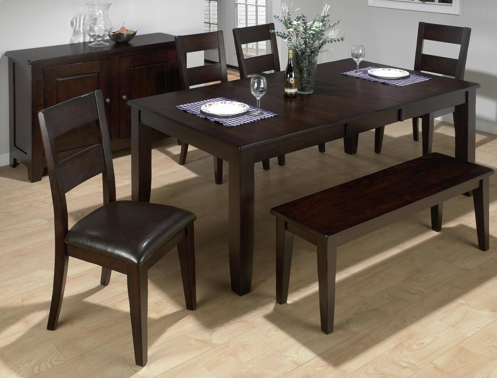 Dark Rustic Prairie Rectangle Dining Table With Four Chairs And One Bench