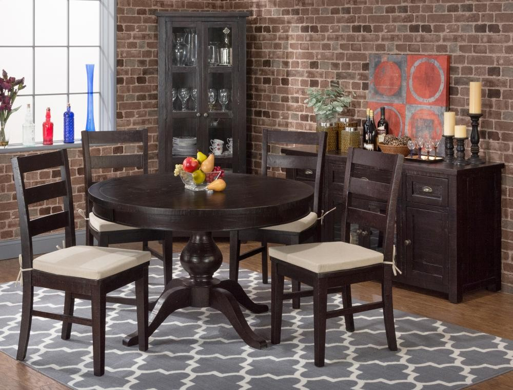Prospect Creek Round To Oval Dining Table With Six Ladder