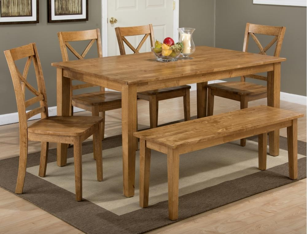 Simplicity Honey Rectangle Dining Table With Six X Back Dining Chairs