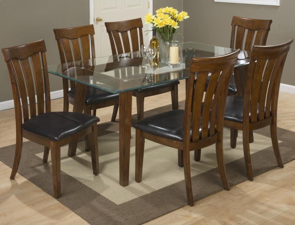 Plantation 72 Rectangle Glass Top Dining Table With Six Slat Back