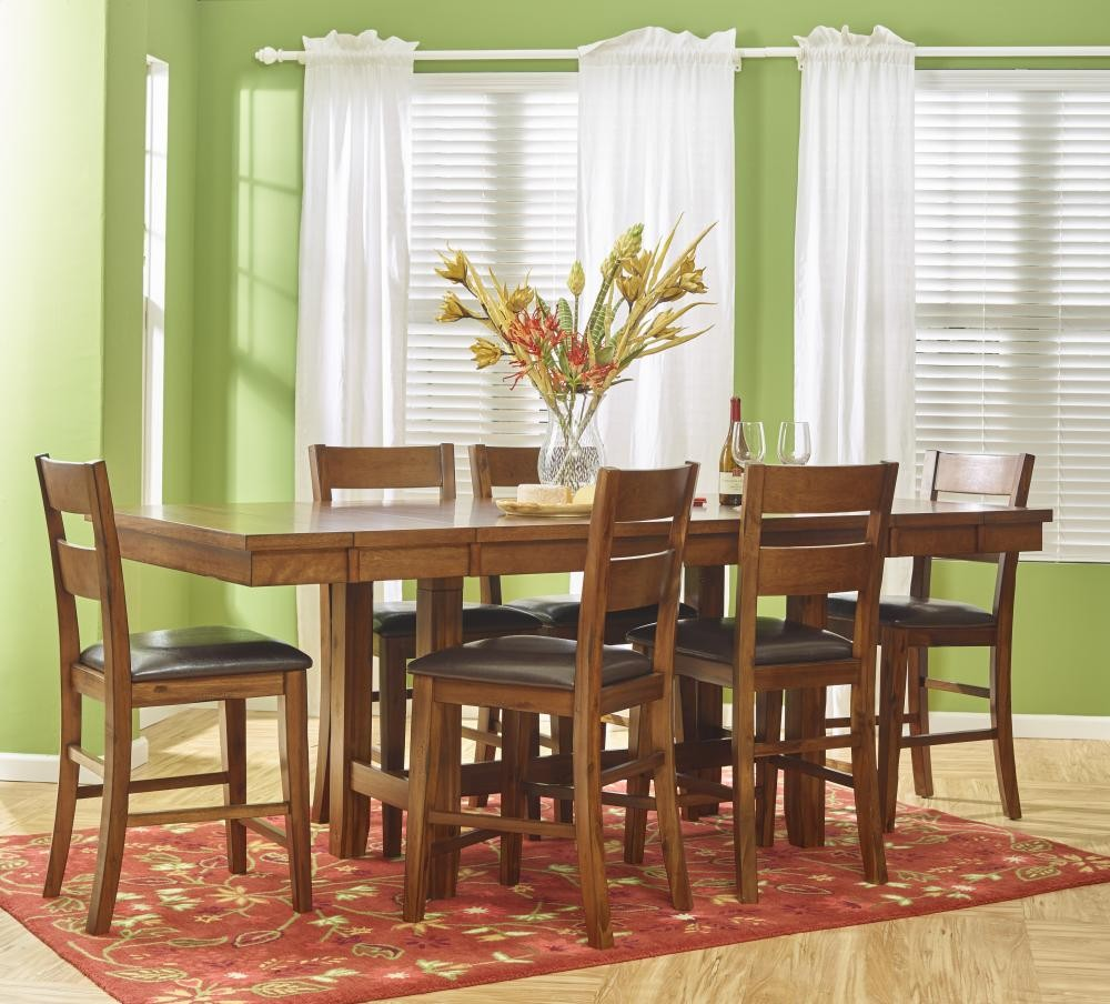 Plantation Dining-to-counter Height Table With Six Ladderback Stools ...