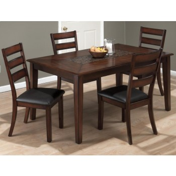 Baroque Brown Dining Table With Mosaic Tile Inlay and Six Slat Back Dining Chairs