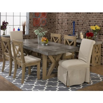 Boulder Ridge Rectangle Concrete Dining Table With Four X Back Dining Chairs  And Two Slipcovered Parson