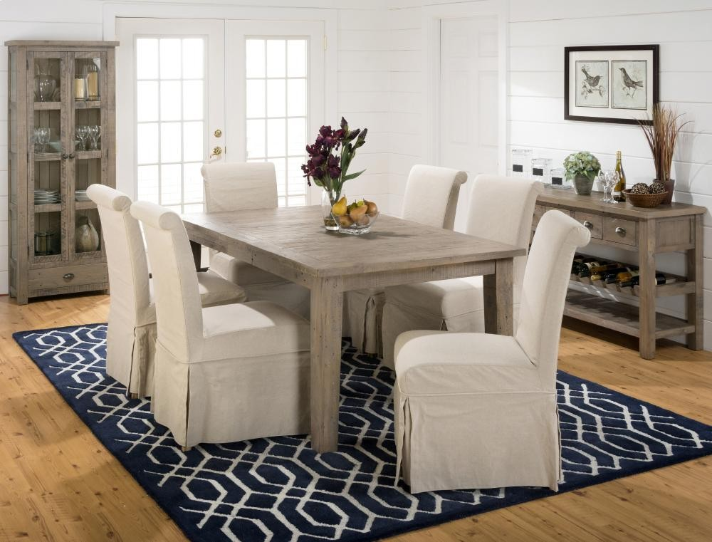 Slater Mill Rectangle Dining Table With Six Slipcovered Parson Chairs