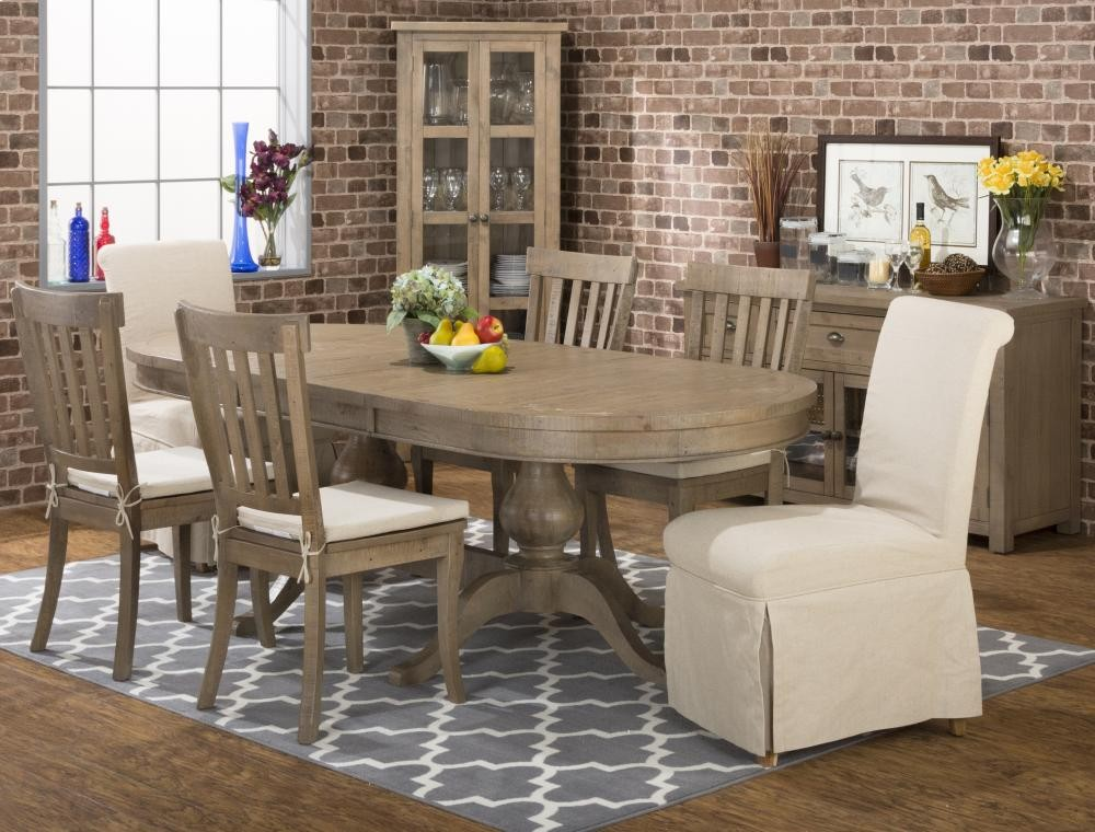Slater Mill Double Pedestal Dining Table With Four Ladderback Chairs - Modern double pedestal dining table
