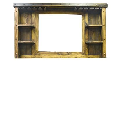 L.M.T. RUSTIC AND WESTERN IMPORTS Bar Display Cabinet W/Mirror : 75