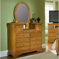 Oak Lane II 9 Drawer Vanity Set with Round Mirror
