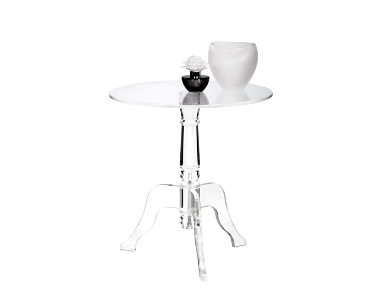 Cassandra Round End Table   Clear