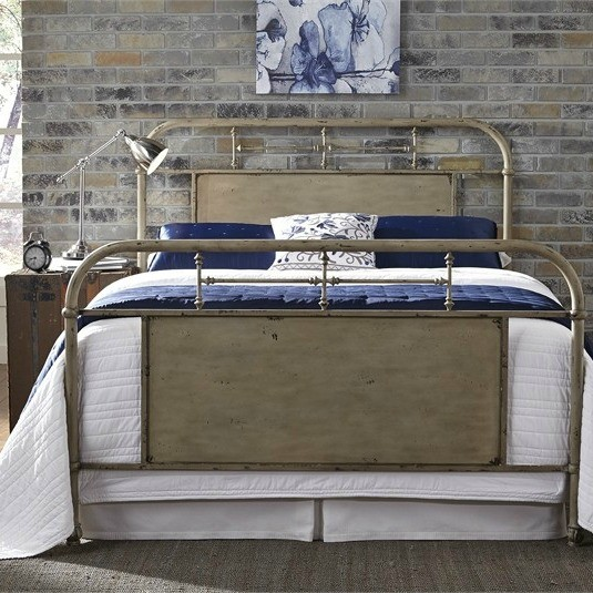 Weathered White Metal Bed
