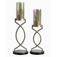 Odele - Silver Finish - Candle Holder (Set of 2)