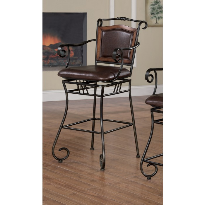 Metal Chair with Brown Upholstery - 100159