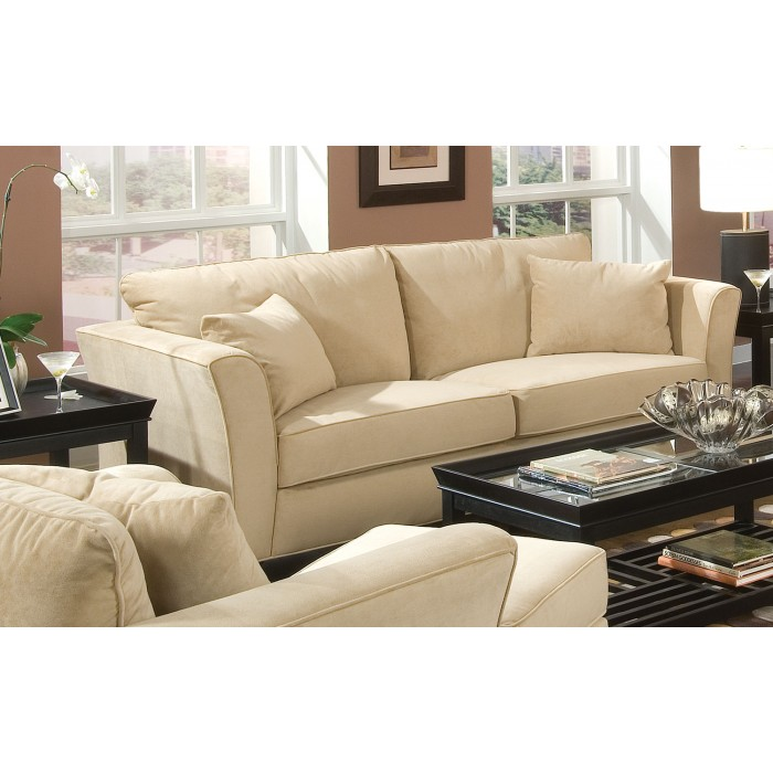 Park Place Collection DURABLE CREAM COLORED VELVET SOFA