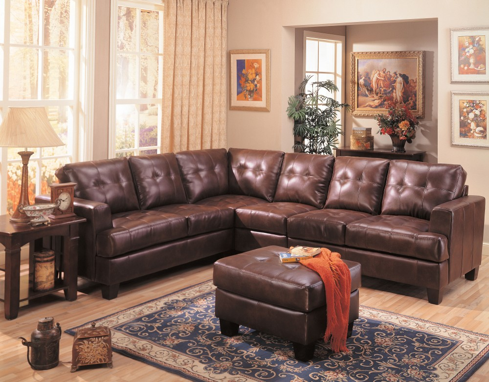 Samuel Dark Brown Bonded Leather Sectional Sofa Sectionals Seat