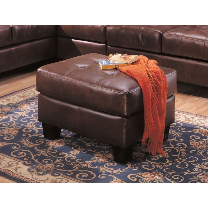 SAMUEL DARK BROWN BONDED LEATHER OTTOMAN