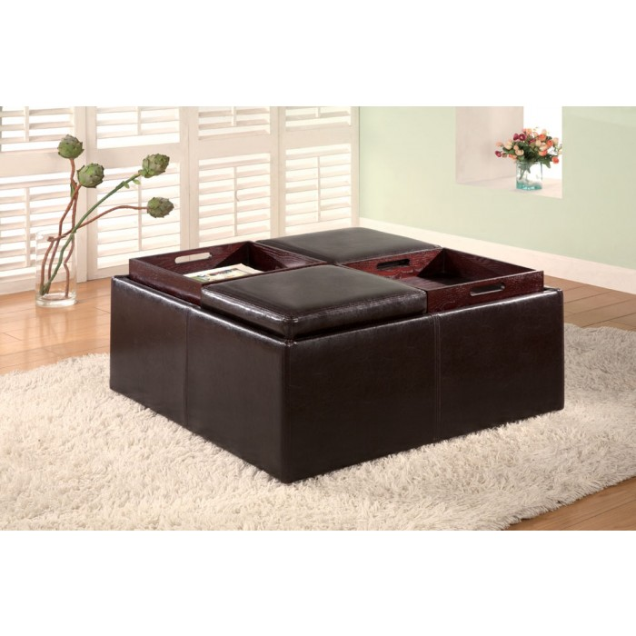DARK BROWN VINYL STORAGE OTTOMAN  sc 1 st  Seat-N-Sleep & DARK BROWN VINYL STORAGE OTTOMAN | Ottomans | Seat-N-Sleep