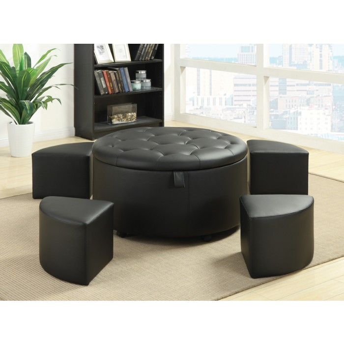 OTTOMAN WITH FAN SHAPED SEATS