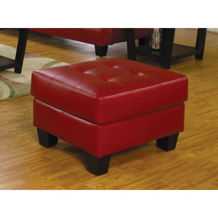 Samuel Collection RED BONDED LEATHER OTTOMAN