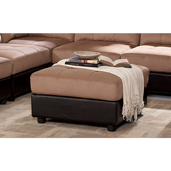 CLAUDE LIGHT BROWN MICROFIBER OTTOMAN