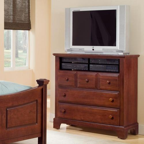 Hamilton/Franklin Media Cabinet   3 Drawers, Open Shelf   Cherry Finish