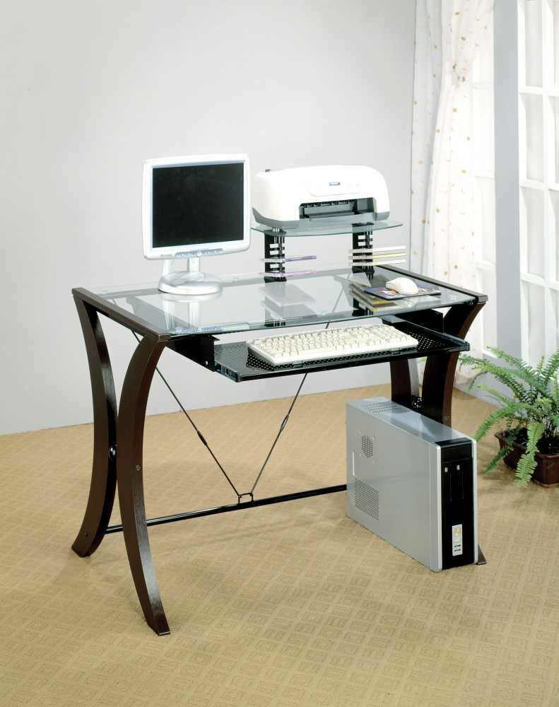 Glass top computer desk home office desks seat n sleep