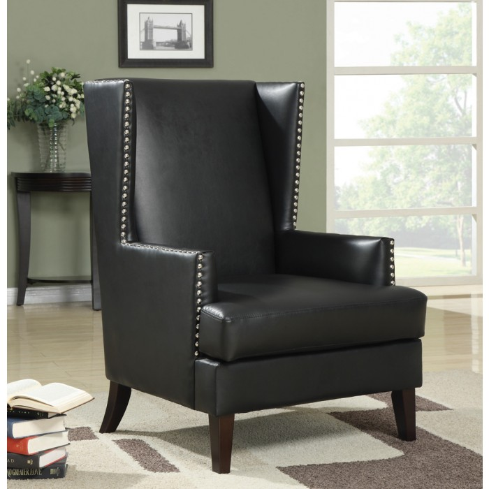 Peachy Black Faux Leather Accent Chair 902078 Ocoug Best Dining Table And Chair Ideas Images Ocougorg