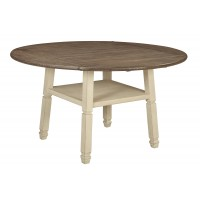 Bolanburg - Antique White - Round Drop Leaf Counter Table