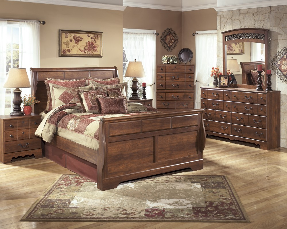 Timberline 5 Pc Bedroom Dresser Mirror Queen Sleigh Bed B258