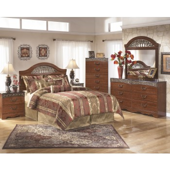 Fairbrooks Estate 4 Pc. Bedroom - Dresser, Mirror, Chest, Queen Poster Headboard