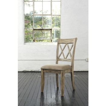 Mestler - Antique White Dining UPH Side Chair (Set of 2)