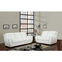 White Modern Leather Livingroom Set