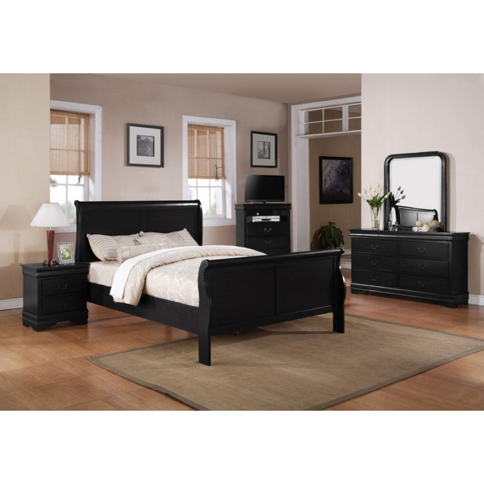 Louis Philip Black 9 Piece Bedroom Group
