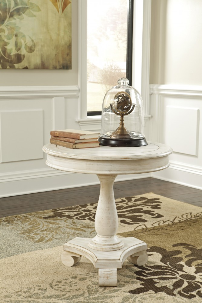 Wonderful Mirimyn White Round Accent Table