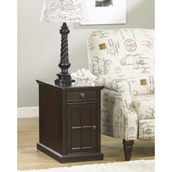 Power Chairside End Tables - Dark Brown - Chair Side End Table