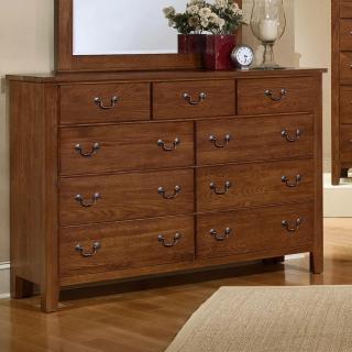 Simply Oak - Triple Dresser - 9 Drawers -Dark Oak Finish