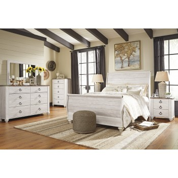 Willowton 5 Pc. Bedroom - Dresser, Mirror & Queen Sleigh Bed
