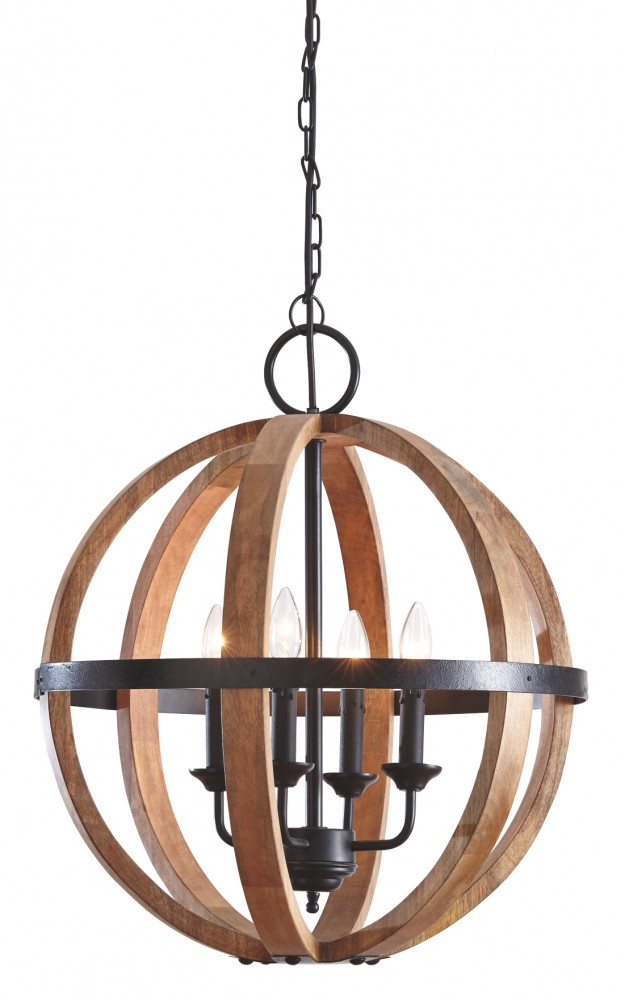 Emilano - Black/Natural - Wood Pendant Light (1/CN)