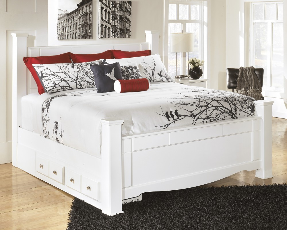Weeki King Poster Bed with Storage
