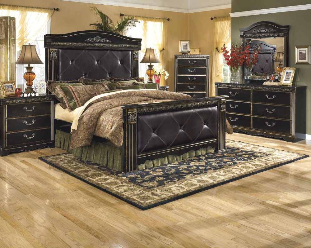 Coal creek 6 pc bedroom dresser mirror queen mansion bed