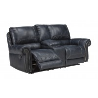 Milhaven - Navy - DBL Rec Loveseat w/Console