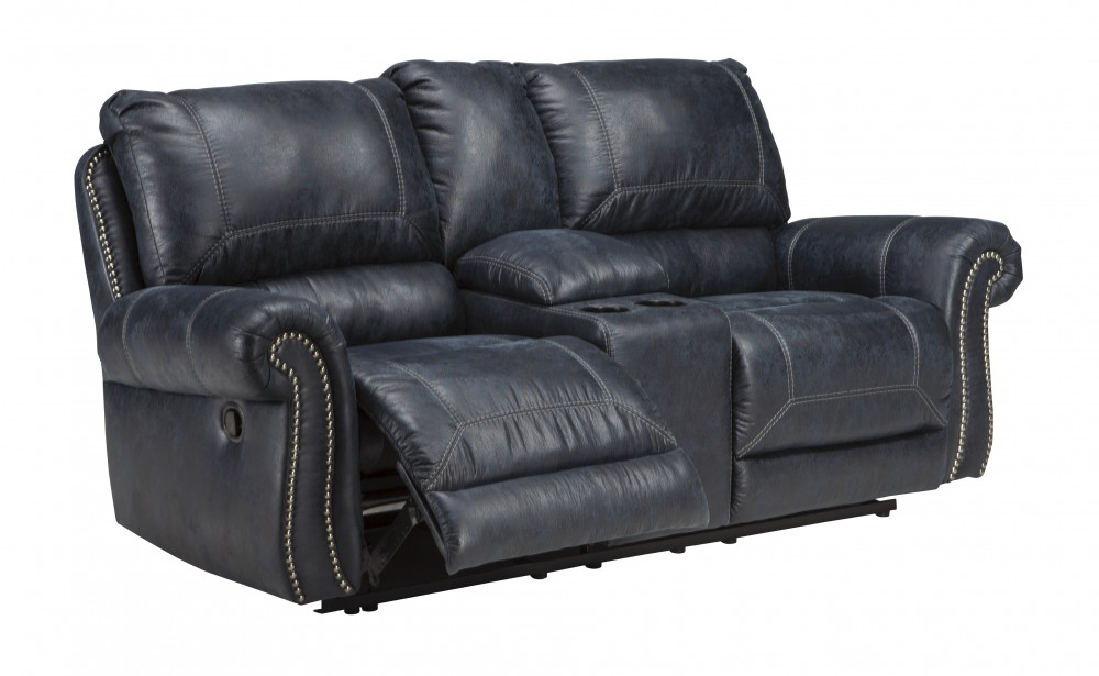 Milhaven - Navy - DBL REC PWR Loveseat w/Console