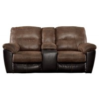 Follett - Coffee - DBL Rec Loveseat w/Console