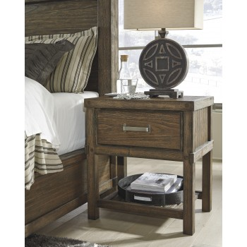 Leystone - Dark Brown - One Drawer Night Stand