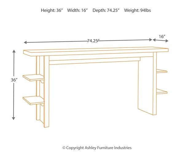Lamoille Dark Gray Long Counter Table D639 33