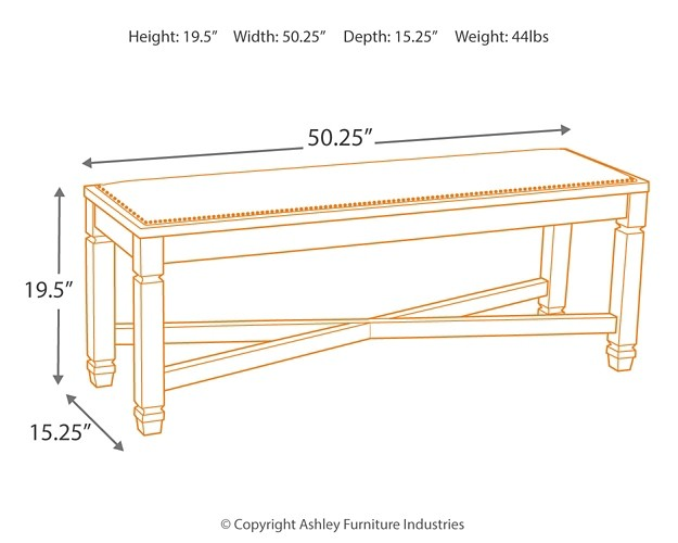 Ashley Furniture Bolanburg Large Upholstered Dining Room Bench In Two Tone