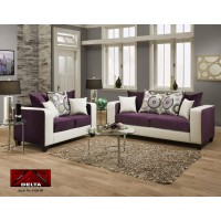 4120 Delta Purple and White Living Room Group