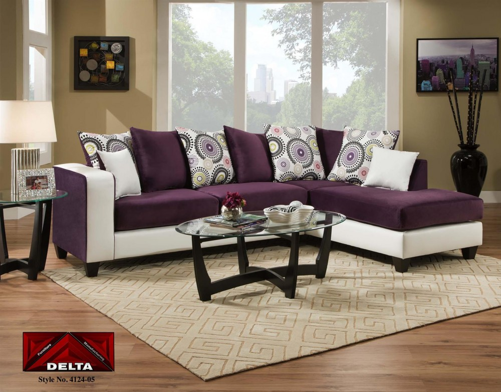 4124 Purple and White 2pc Sectional | 4124PurpSect | Sectional ...
