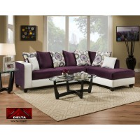 4124 Purple and White 2pc Sectional