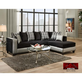4124 Silver and Black 2pc Sectional
