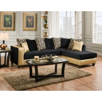 4124 Gold and Black 2pc Sectional