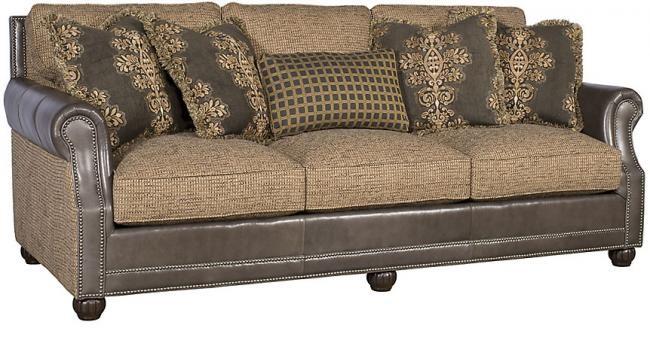 KING HICKORY Julianna Leather/Fabric Sofa, Julianna Leather ...